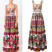 17SS DG801 'MANBO' PRINTED COTTON GOWN WITH LACE & SEQUIN