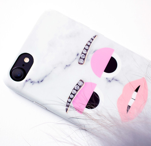 ◆IPHORIA◆ [IPHONE 7] monster cool marble case with pompom