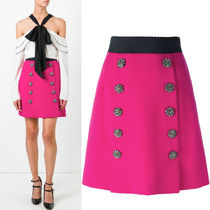 17SS DG858 WOOL FLARE SKIRT WITH JEWEL BUTTON
