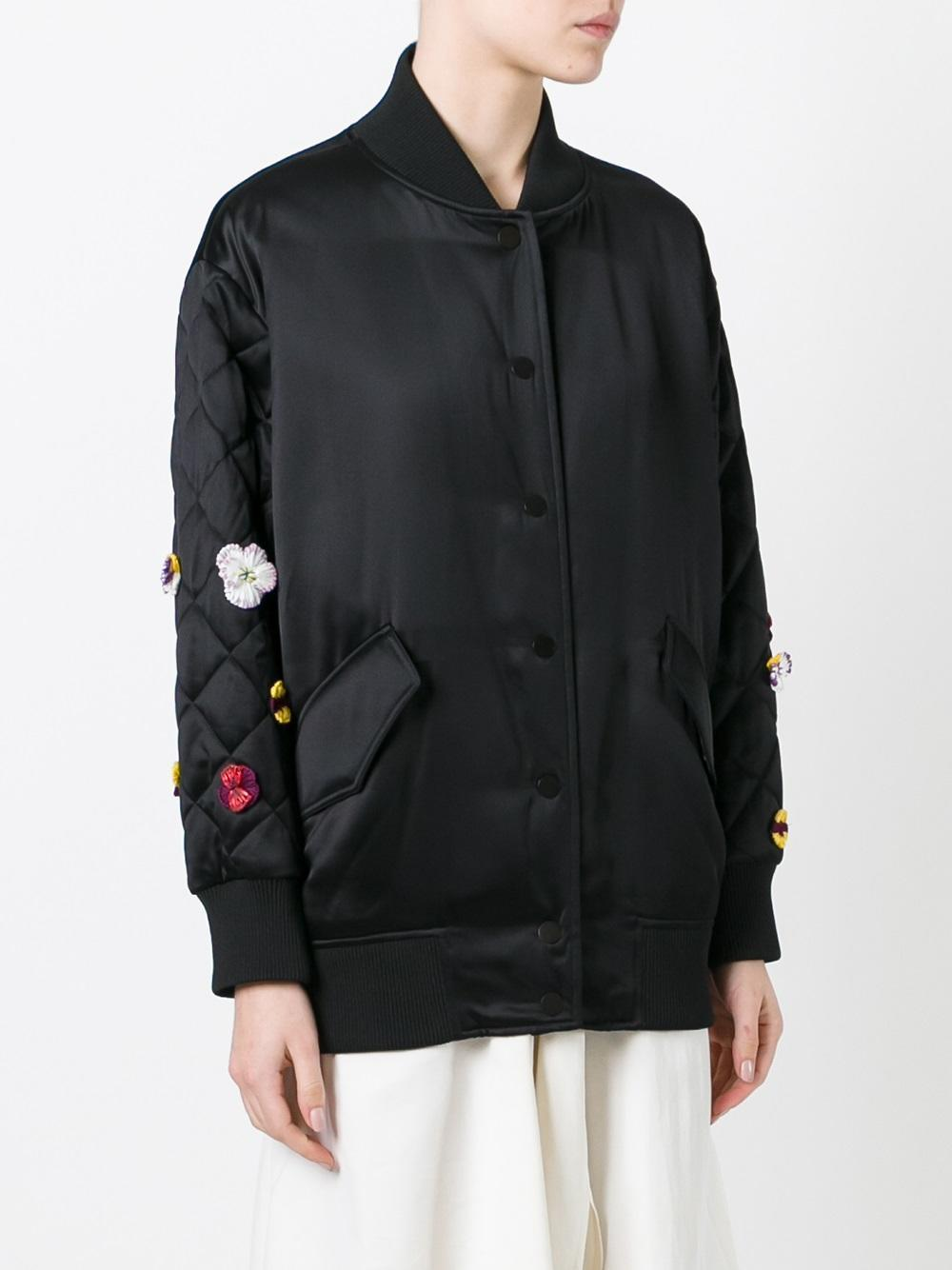 FE1290 FLORAL EMBROIDERY BOMBER JACKET
