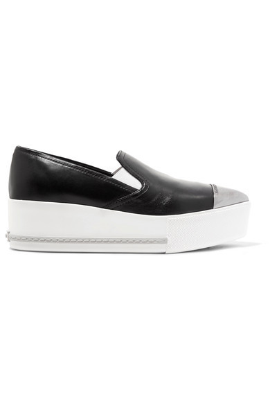 ★関税負担★MIU MIU★METAL-TRIMMED PLATFORM SLIP-ON SNEAKERS