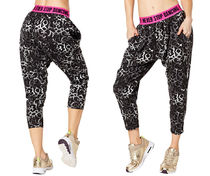 新作♪ZUMBAズンバDance Gypsy Harem Capri Pants-Back to Black