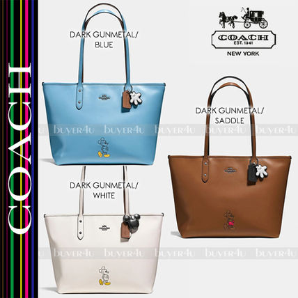 Coach トートバッグ COACH☆ディズニーコラボ MICKEY CITY TOTE CALF LEATHER 56645 ...