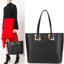FE1306 LEATHER TOTE BAG WITH MULTICOLOR STUDS