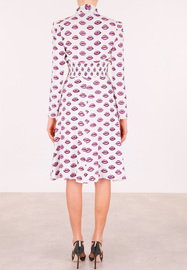 PR225 'LIPS' PRINTED CREPE DRESS WITH BOW