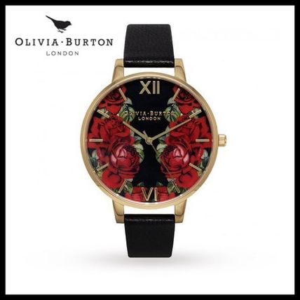 【人気】OLIVIA BURTON English Rose Mirror Rose Black & Gold