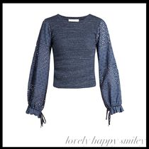 Broderie-anglaise blouson-sleeved top
