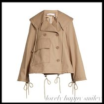 Double-breasted cropped cotton trench coat