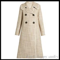 Double-breasted A-line woven coat