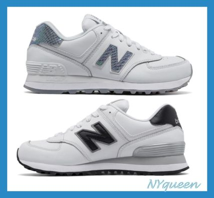 popular New Balance 574 leather silver or black logo