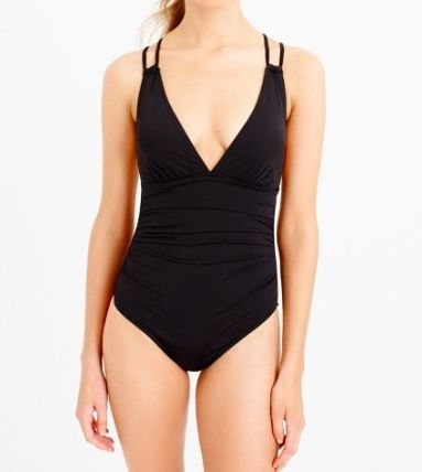 Jersey Lomellina deep-V ruched one-piece swimsuit 間税込