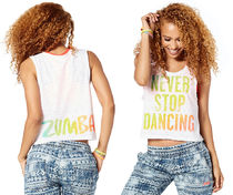 新作♪ZumbaズンバNever Stop Dancing Tank-Wear It Out White