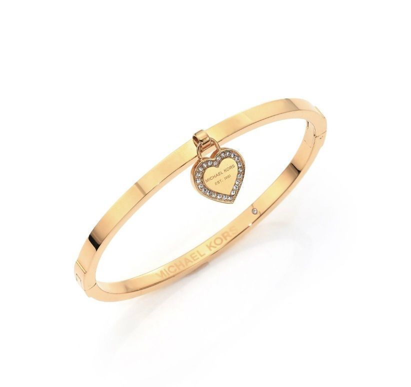 送料&関税込♪ Michael Kors☆Logo Heart Bangle Bracelet GOLD