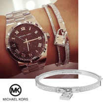 送料&関税込♪ Michael Kors ☆ Silver Padlock Pave Bangle