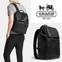 国内即発★COACH★贅沢レザーManhattan backpack :BLACK
