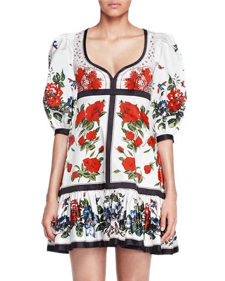 ☆ Alexander McQueen  Bubble-Sleeve Tablecloth-Print Dress