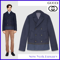 GUCCI★グッチ★素敵! BLANKET STRIPE FELTED COAT WOOL BLEND
