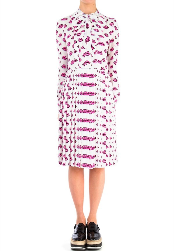 PR286 'LIPS' PRINTED SABLE DRESS WITH TIE