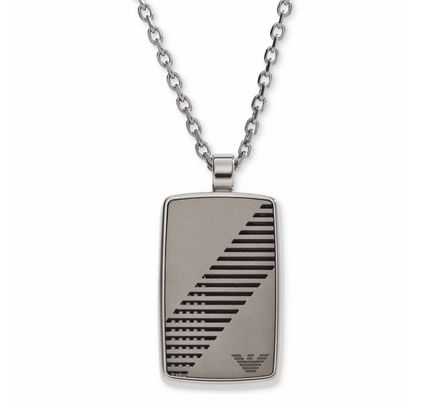 ★Emporio Armani★Men's Rounded Dog Tag Logo Necklace
