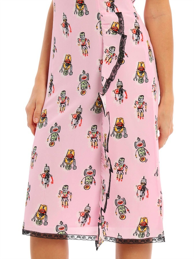 PR296 RUFFLED STRAP DRESS IN 'ROBOT' PRINTED SILK