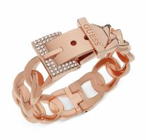 ★GUESS★Rose-Gold Tone Crystal Buckle Bangle Bracelet
