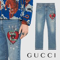 GUCCI Denim Straight Pant With Embroidery