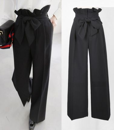 High-waist waist Ribbon Center press wide pants