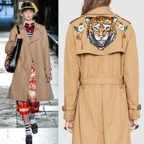 17SS WG197 LOOK96 TIGER EMBELLISHED GABARDINE TRENCH COAT