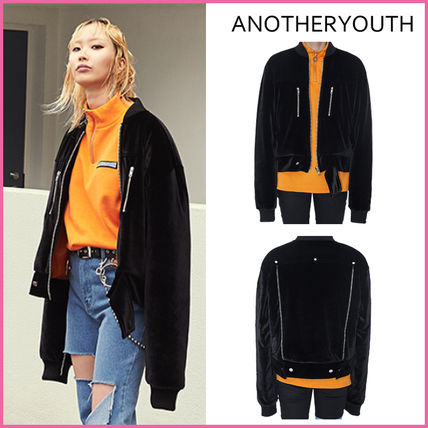 / ANOTHERYOUTH genuine Korea popular VELVET JUMPER BLACK