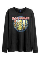 "H&M DIVIDED ""Iron Maiden""プリント長袖Tシャツ"