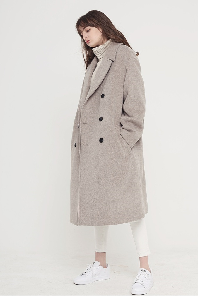 Evan Laforet◆OVERSIZED DOUBLE LONG COAT OATMEAL◆UNISEX