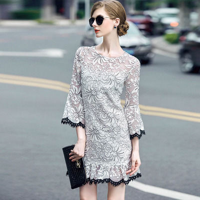 popular item embroidered flares 7 sleeve dress p2337