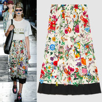 17SS WG213 LOOK49 'FLORA SNAKE' PRINT SILK PLEATED SKIRT