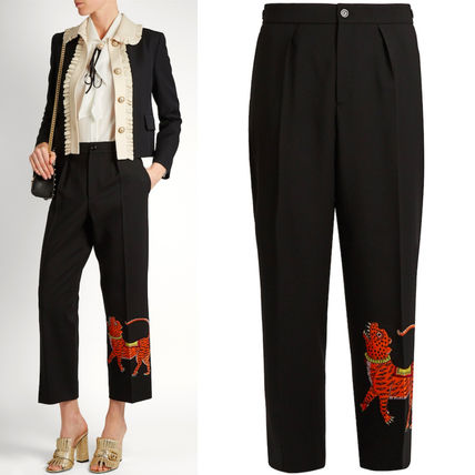 17SS WG216 'TIGER' APPLIQUE WIDE LEG CROPPED PANTS