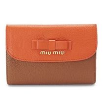 【MIUMIU】財布☆MADRAS BICOLORE PAPAYA×CUOIO★2016新作♪
