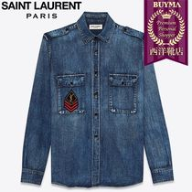 SAINT LAURENT 17SS┃MEDIUM VINTAGE PATCH DENIM SHIRT