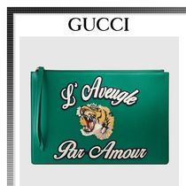 GUCCI(グッチ) 雑貨・その他 【17cruise新作国内発送】GUCCI レザーポーチ 緑
