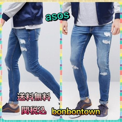 / ASOS Super Skinny Jeans/Rips/Mid Wash