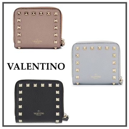 /Valentino leather rock studded bifold wallet
