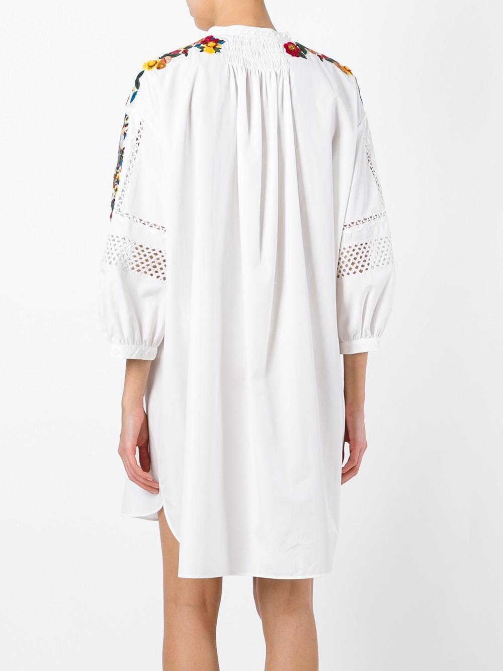 17SS V628 LOOK45 BUTTERFLY & FLOWER EMBROIDERED TUNIC DRESS