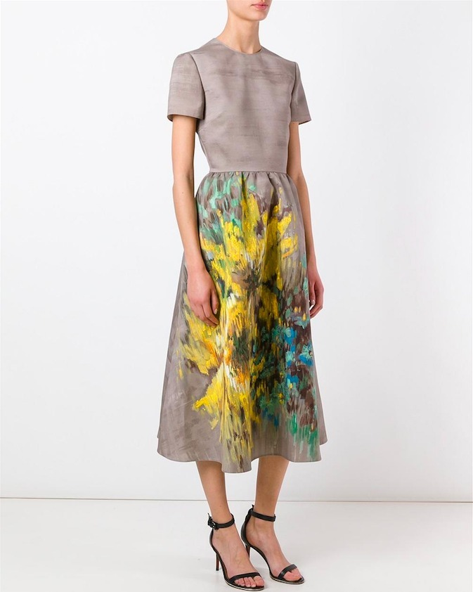 17SS V656 FLORAL PAINTED EFFECT MIDI DRESS