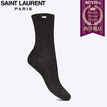 SAINT LAURENT 17SS┃BLACK AND GOLD RIBBED SOCKS