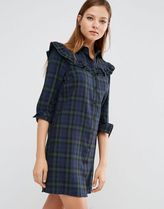 ASOS(エイソス) ワンピース 送料・関税込み!ASOS Shirt Dress with Frill in Check ドレス