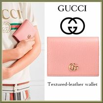 GUCCI(グッチ) カードケース・名刺入れ 17SS★GUCCI プチ マーモント TEXTURED-LEATHER WALLET 関税込み