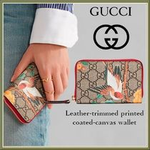 GUCCI(グッチ) カードケース・名刺入れ 17SS★GUCCI LEATHER-TRIMMED COATED-CANVAS WALLET 関税込み