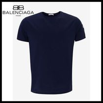 新作!国内発送!BALENCIAGA Navy Blue Tricolour Trim T-Shirt