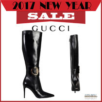 GUCCI(グッチ) ロングブーツ SALE! ★送料関税込★ GUCCI  leather boot with zip