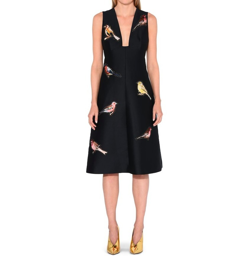 17SS SM316 EMBROIDERED 'KAITLYN' FLARE DRESS