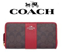 Coach(コーチ) 長財布 即発可!!【ACCORDION ZIP WALLET/SIGNATURE WITH STRIPE】
