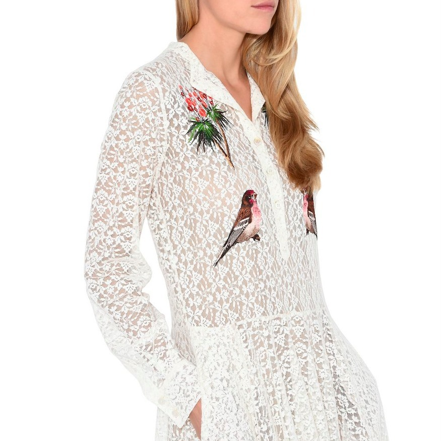 17SS SM322 EMBROIDERED LACE MIDI DRESS